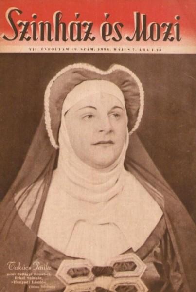 Szilágyi Erzsébet szerepében egy 1954-es Színház és Mozi címlapján