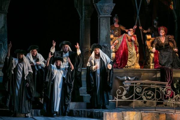Heródiás (Wiedemann bBernadett), Heródes (Gerhard Siegel) és a zsidókvintett (fotó: Nagy Attila)