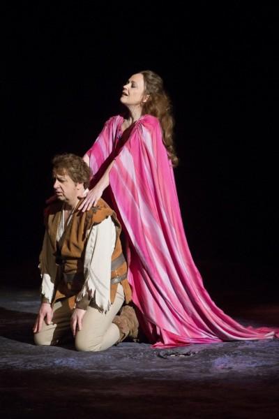 Kundry és Parsifal: Evelyn Herlitzius és Kovácsházi István (fotó: Rákossy Péter / Magyar Állami Operaház)