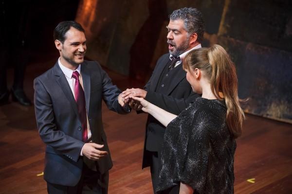 Arturo, Lord Walton és Elvira: Francesco Demuro, Sebestyén Miklós és Jessica Pratt (fotó: Posztós János / Müpa)