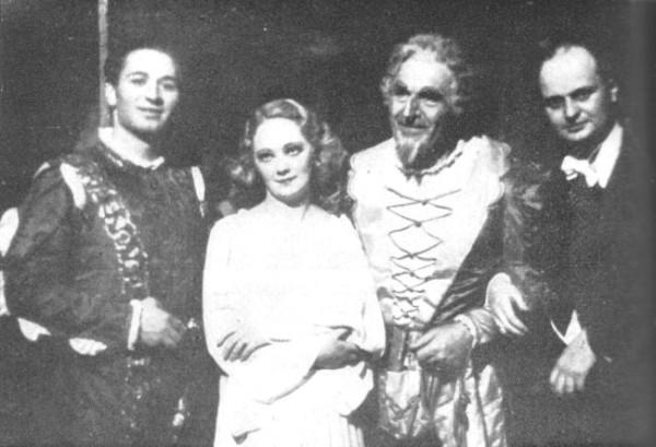 Király Sándor, Gyurkovics Mária, Palló Imre, és Fricsay Ferenc egy szegedi Rigoletto-előadás után