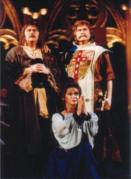 Csonka Zsuzsa (Rózsa), Sárkány Kázmér (Barna) és Bándi János (Dózsa) az 1994-es Erkel színházi előadásban