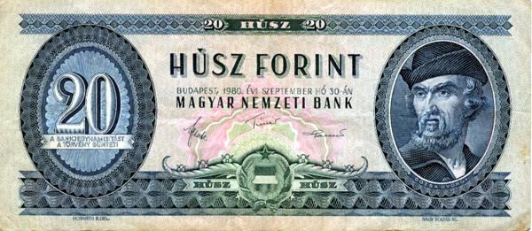 Dózsa portréja a húszforintos bankjegyen