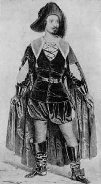 A Lammermoori Lucia Edgardójaként - Nemzeti Színház, 1847 (Barabás Miklós metszete)