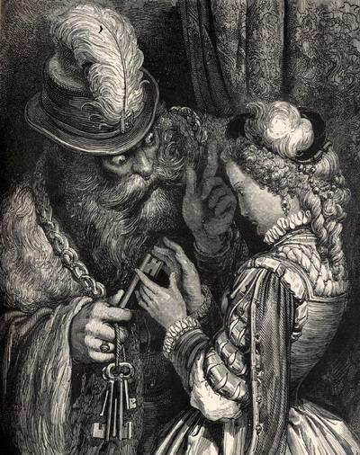 Gustave Doré illusztrációja Charles Perrault Kékszakállú című meséjéhez