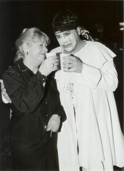 Bándi Jánossal a Bajazzók-premier után, 1995-ben