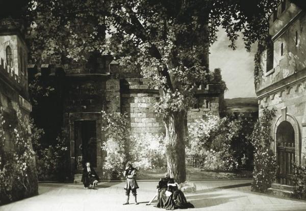 Jelenet a Götz von Berlichingen címû operából - középen: Takáts Mihály