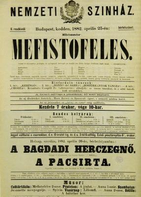 A Nemzeti Színház plakátja 1882-ből
