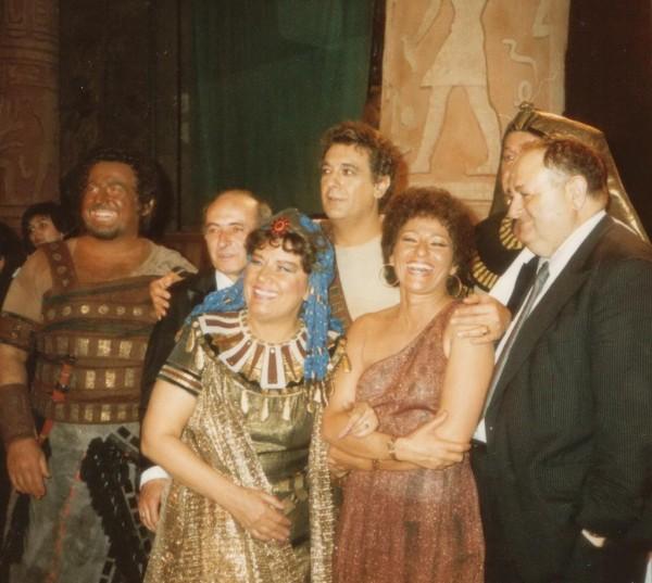 Az 1987-es, híres Aidában Jelena Obrazcovával, Placido Domingóval, Lukács Ervinnel, Sólyom-Nagy Sándorral és Mikó Andrással