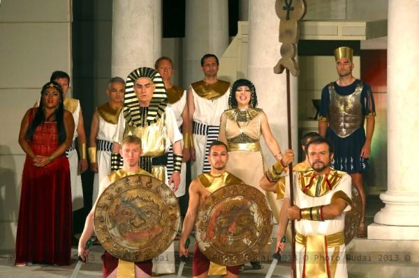Amneris, a király és Radames: Dana Liliana Ciuca, Berczelly István és Kiss B. Atilla (fotó: Budai István)